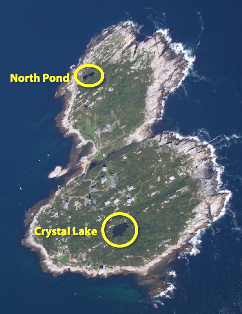 Aerial photo of Appledore Island with Crystal Lake and North Pond circled