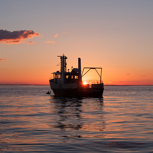 Photo of Research Vessel John M. Kingsbury at sunset