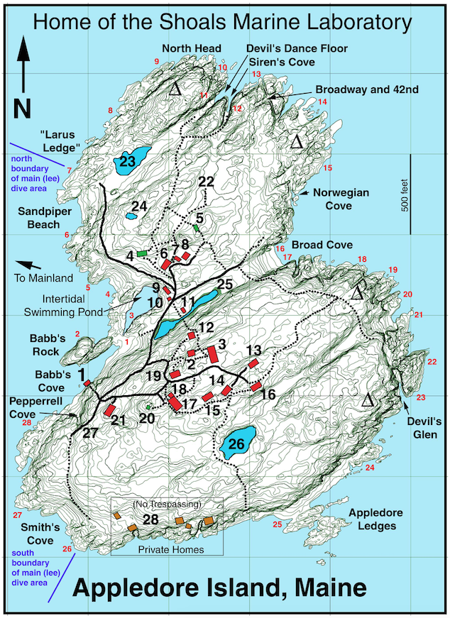 Map of Research Sites on Appledore