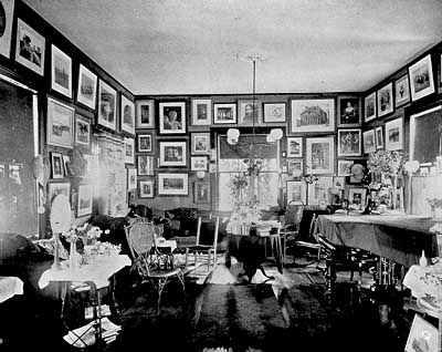 Antique photograph of Celia Thaxter's Salon.