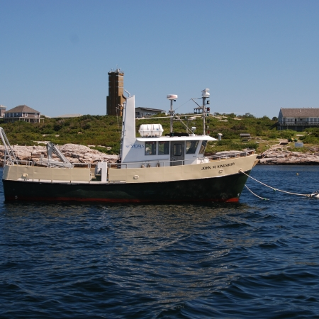 Research Vessel John M. Kingsbury moored in front of Appledore Island.